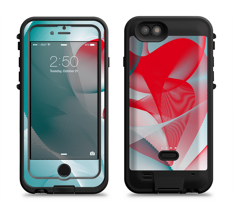 the abstract teal red love connect  iPhone 6/6s Plus LifeProof Fre POWER Case Skin Kit