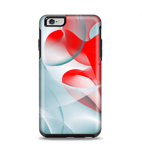 The Abstract Teal & Red Love Connect Apple iPhone 6 Plus Otterbox Symmetry Case Skin Set