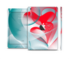 The Abstract Teal & Red Love Connect Skin Set for the Apple iPad Mini 4