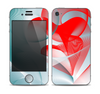 The Abstract Teal & Red Love Connect Skin for the Apple iPhone 4-4s