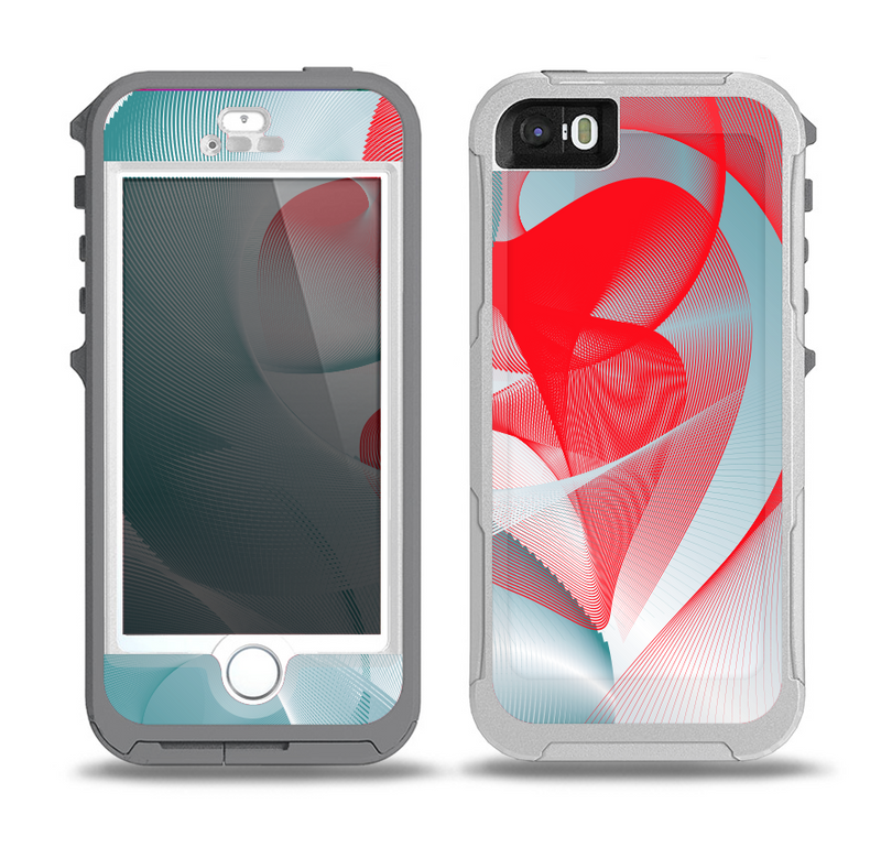 The Abstract Teal & Red Love Connect Skin for the iPhone 5-5s OtterBox Preserver WaterProof Case