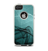 The Abstract Teal and Black Curves Apple iPhone 5-5s Otterbox Commuter Case Skin Set