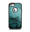 The Abstract Teal and Black Curves Apple iPhone 5-5s Otterbox Defender Case Skin Set