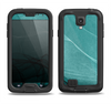 The Abstract Teal and Black Curves Samsung Galaxy S4 LifeProof Nuud Case Skin Set