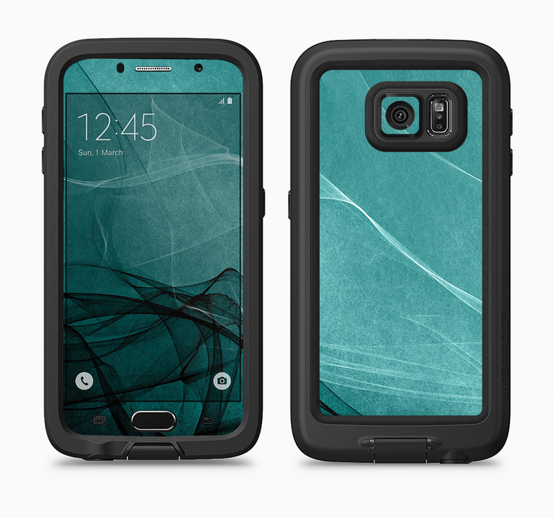 The Abstract Teal and Black Curves Full Body Samsung Galaxy S6 LifeProof Fre Case Skin Kit