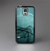 The Abstract Teal and Black Curves Skin-Sert Case for the Samsung Galaxy S5
