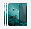The Abstract Teal and Black Curves Skin for the Apple iPhone 6 Plus