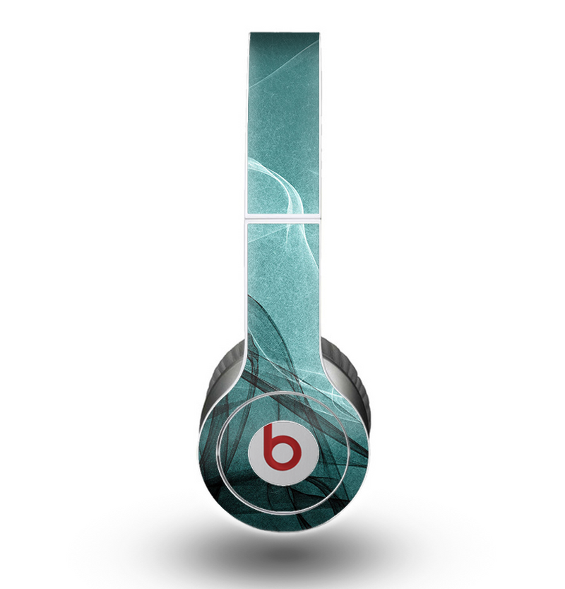 The Abstract Teal and Black Curves Skin for the Beats by Dre Original Solo-Solo HD Headphones