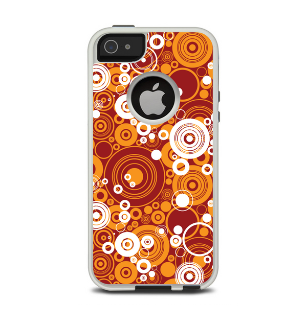 The Abstract Vector Gold & White Circle Swirls Apple iPhone 5-5s Otterbox Commuter Case Skin Set