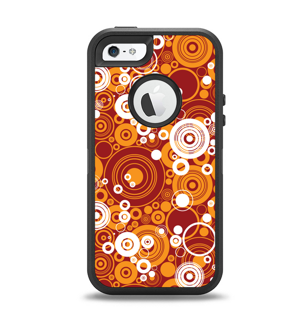 The Abstract Vector Gold & White Circle Swirls Apple iPhone 5-5s Otterbox Defender Case Skin Set