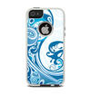 The Abstract Vibrant Blue Swirled Apple iPhone 5-5s Otterbox Commuter Case Skin Set