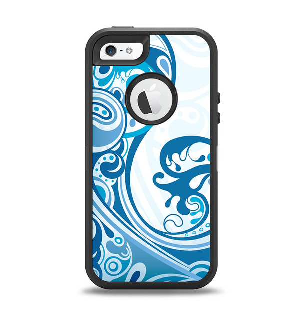 The Abstract Vibrant Blue Swirled Apple iPhone 5-5s Otterbox Defender Case Skin Set