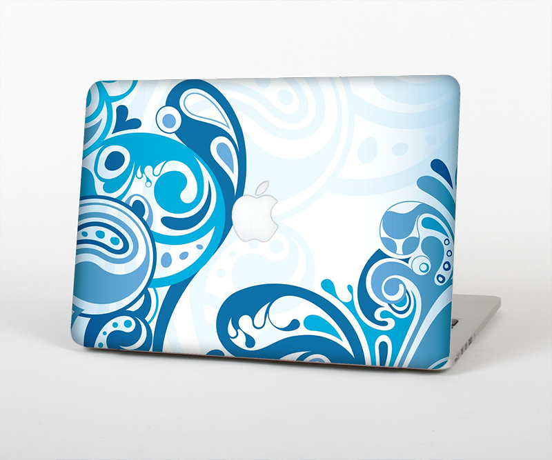 The Abstract Vibrant Blue Swirled Skin Set for the Apple MacBook Air 11""