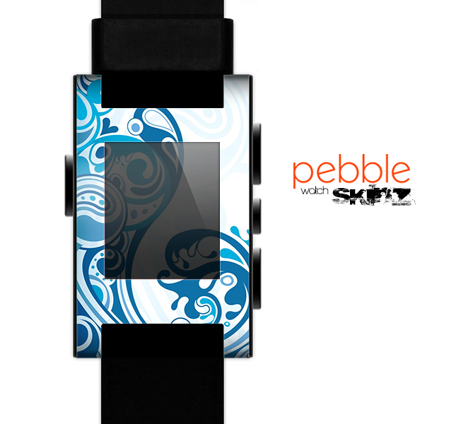 The Abstract Vibrant Blue Swirled Skin for the Pebble SmartWatch