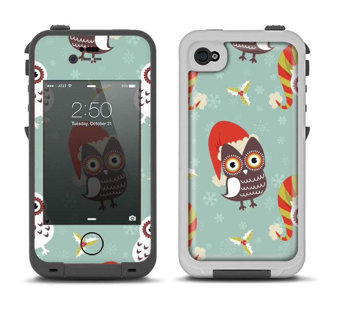 The Abstract Vintage Christmas Owls Apple iPhone 4-4s LifeProof Fre Case Skin Set