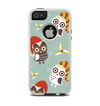 The Abstract Vintage Christmas Owls Apple iPhone 5-5s Otterbox Commuter Case Skin Set