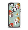 The Abstract Vintage Christmas Owls Apple iPhone 5-5s Otterbox Defender Case Skin Set