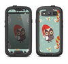 The Abstract Vintage Christmas Owls Samsung Galaxy S4 LifeProof Nuud Case Skin Set