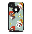 The Abstract Vintage Christmas Owls Skin for the iPhone 4-4s OtterBox Commuter Case