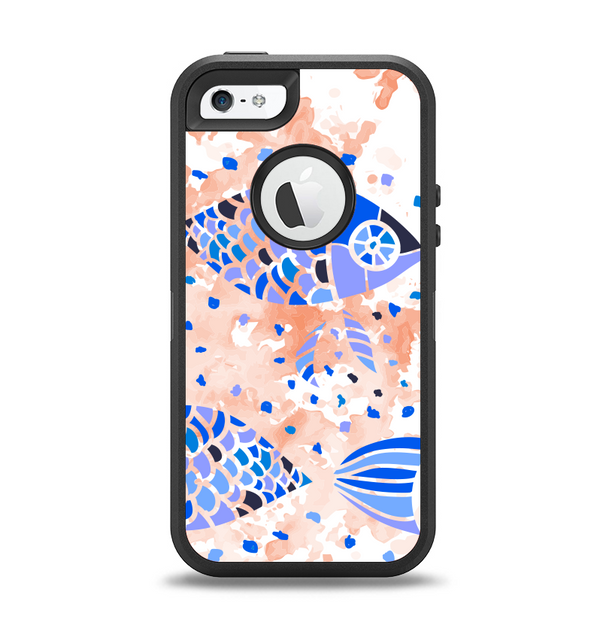 The Abstract White and Blue Fish Fossil Apple iPhone 5-5s Otterbox Defender Case Skin Set