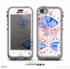 The Abstract White and Blue Fish Fossil Skin for the iPhone 5c nüüd LifeProof Case