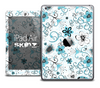 The Abstract White and Turquoise Flower Skin for the iPad Air