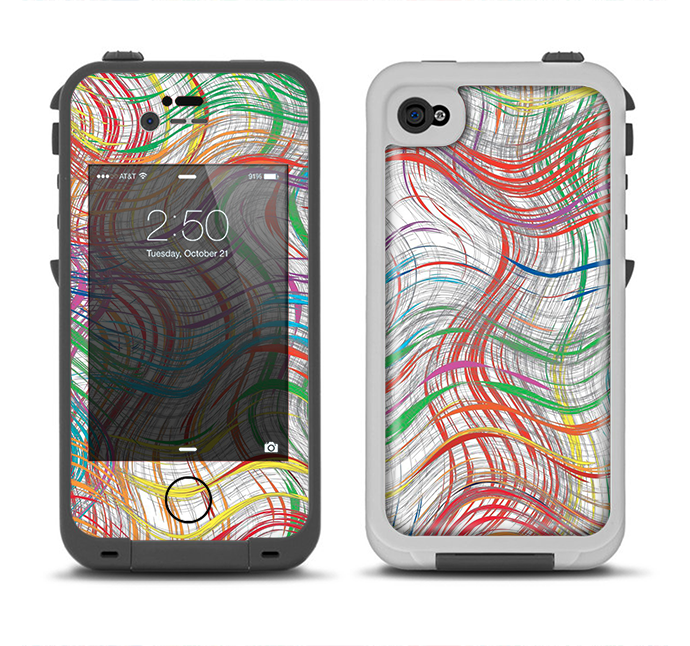 The Abstract Woven Color Pattern Apple iPhone 4-4s LifeProof Fre Case Skin Set
