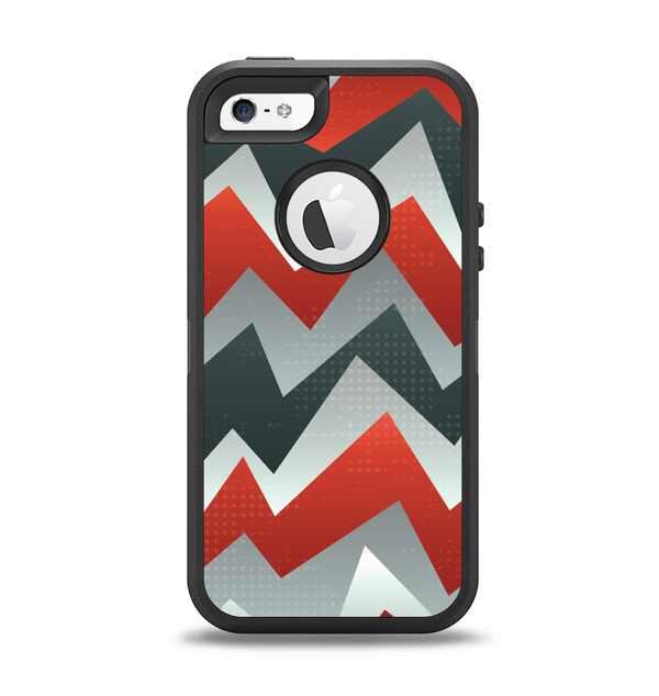 The Abstract ZigZag Pattern v4 Apple iPhone 5-5s Otterbox Defender Case Skin Set