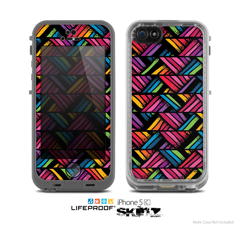 The Abstract Zig Zag Color Pattern Skin for the Apple iPhone 5c LifeProof Case