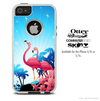 The Abstrct Blue Flamingo Skin For The iPhone 4-4s or 5-5s Otterbox Commuter Case