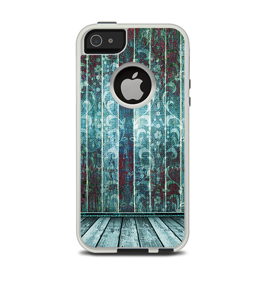 The Aged Blue Victorian Striped Wall Apple iPhone 5-5s Otterbox Commuter Case Skin Set