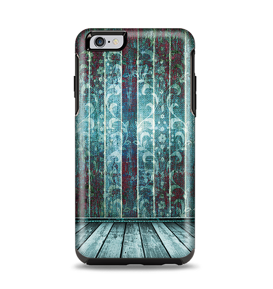 The Aged Blue Victorian Striped Wall Apple iPhone 6 Plus Otterbox Symmetry Case Skin Set