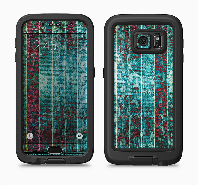 The Aged Blue Victorian Striped Wall Full Body Samsung Galaxy S6 LifeProof Fre Case Skin Kit