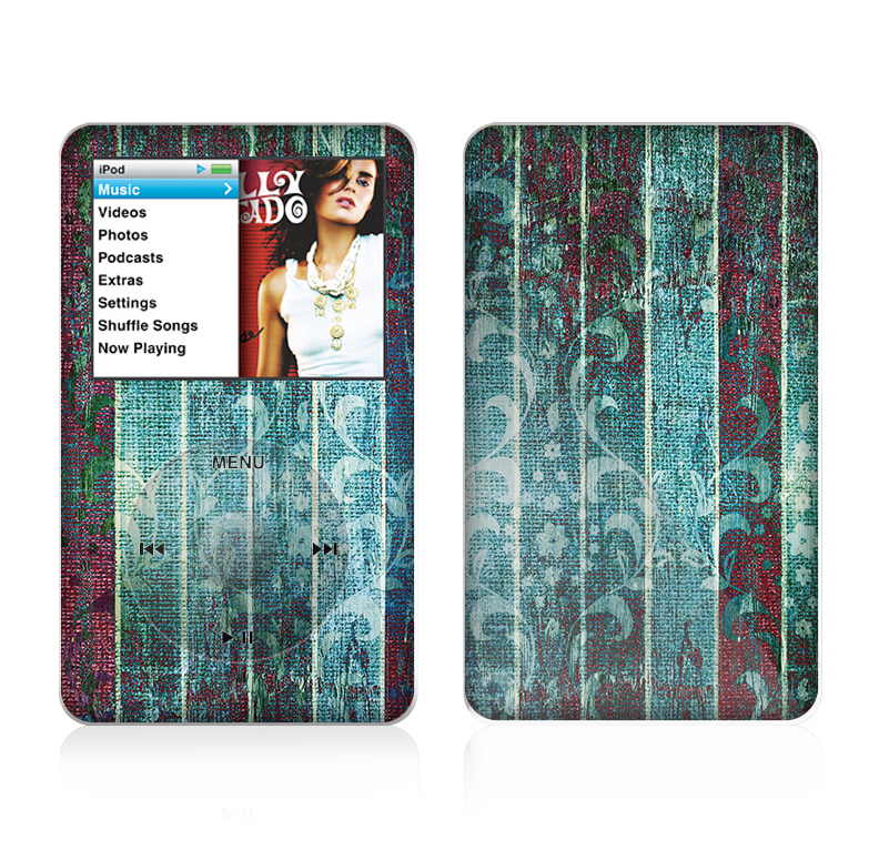 The Aged Blue Victorian Striped Wall Skin For The Apple iPod Classic