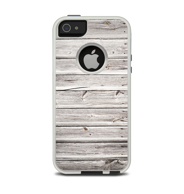 The Aged White Wood Planks Apple iPhone 5-5s Otterbox Commuter Case Skin Set