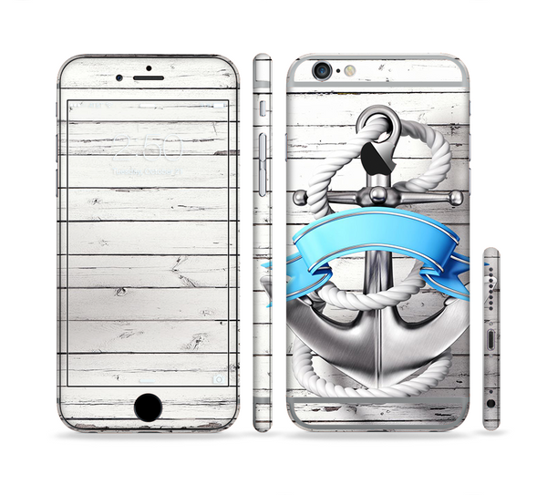 The Aged White Wood With Anchor Sectioned Skin Series for the Apple iPhone 6