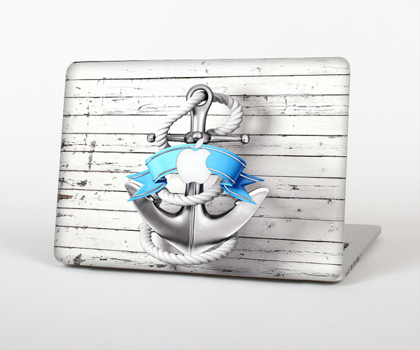 The Aged White Wood With Anchor Skin Set for the Apple MacBook Air 11""