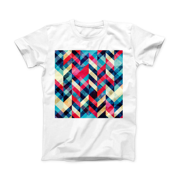 The Angled Colored Pattern ink-Fuzed Front Spot Graphic Unisex Soft-Fitted Tee Shirt
