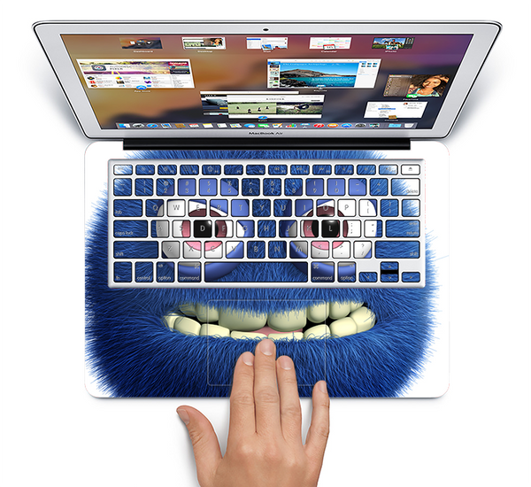 The Angry Blue Fury Monster Skin Set for the Apple MacBook Air 11""