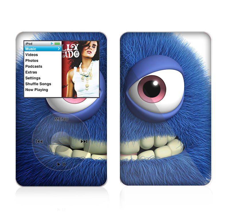 The Angry Blue Fury Monster Skin For The Apple iPod Classic