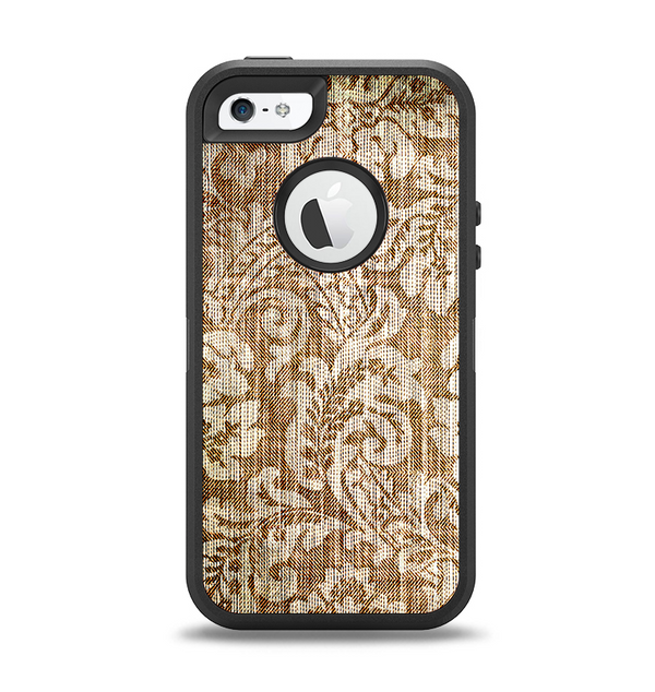 The Antique Floral Lace Pattern Apple iPhone 5-5s Otterbox Defender Case Skin Set
