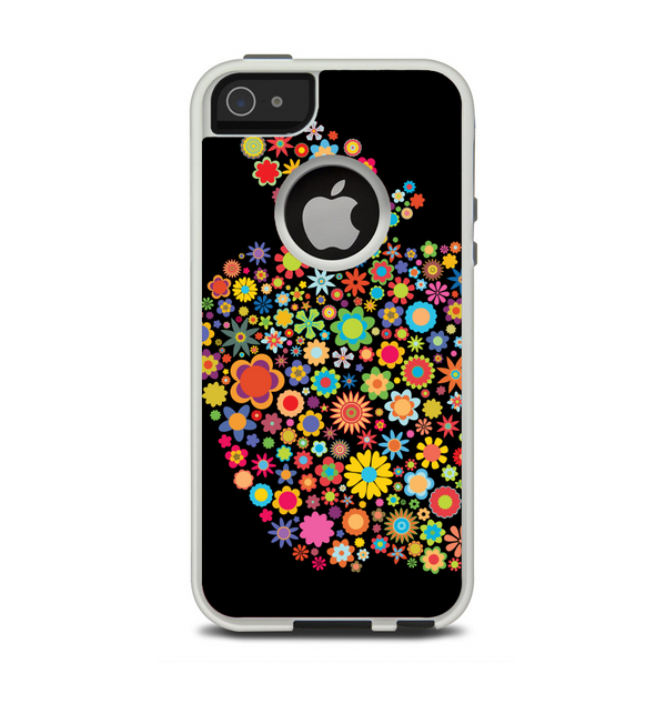 The Apple Icon Floral Collage Apple iPhone 5-5s Otterbox Commuter Case Skin Set