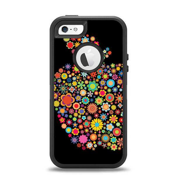 The Apple Icon Floral Collage Apple iPhone 5-5s Otterbox Defender Case Skin Set