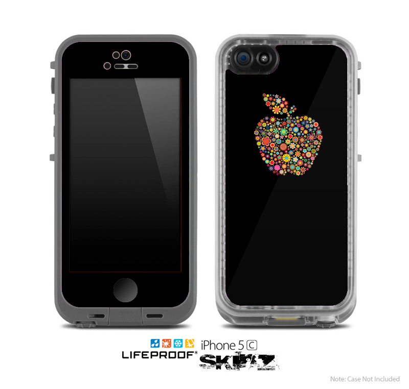 The Apple Icon Floral Collage Skin for the Apple iPhone 5c LifeProof Case
