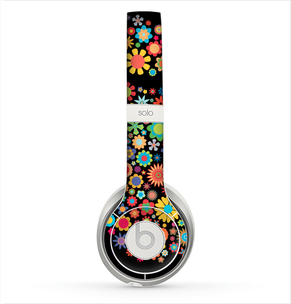 The Apple Icon Floral Collage Skin for the Beats by Dre Solo 2 Headphones