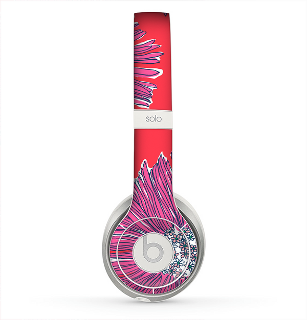 The Artistic Purple & Coral Floral Skin for the Beats by Dre Solo 2 Headphones