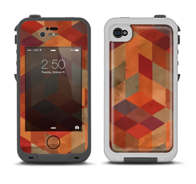 The Autumn Colored Geometric Pattern Apple iPhone 4-4s LifeProof Fre Case Skin Set