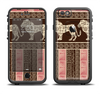 The Aztec Pink & Brown Lion Pattern Apple iPhone 6/6s Plus LifeProof Fre Case Skin Set