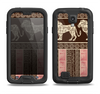 The Aztec Pink & Brown Lion Pattern Samsung Galaxy S4 LifeProof Nuud Case Skin Set