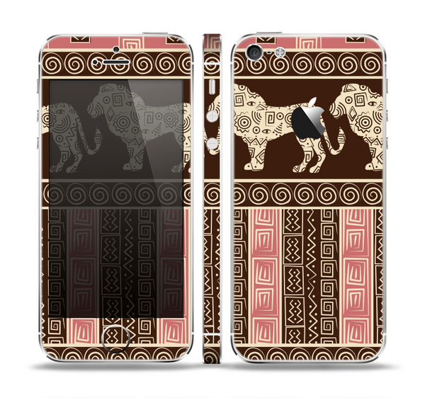 The Aztec Pink & Brown Lion Pattern Skin Set for the Apple iPhone 5